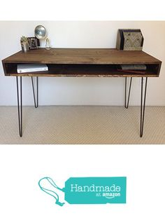 Mid Century Solid Hardwood Hairpin Leg Desk x from Maker and Meadow… Mid Century Modern Furniture, Midcentury Modern, Hairpin Leg Desk, Garage Remodel, Desk Plans, Diy Desk, Living Area, Diy Furniture, Entryway Tables