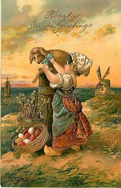 Easter 1908 Dutch Girl Lamb Easter Egg Basket Windmill Vintage PFB Postcard | eBay