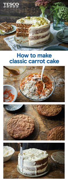 Take traditional carrot cake up a level with this seriously impressive three-tiered showstopper. Spiced carrot sponge sandwiches classic cream cheese icing and is decorated with crushed nuts for the ultimate teatime treat. Baking Recipes, Cookie Recipes, Dessert Recipes, Desserts, Dessert Blog, Tesco Real Food, Cream Cheese Recipes, Cream Cheese Icing, Recipes