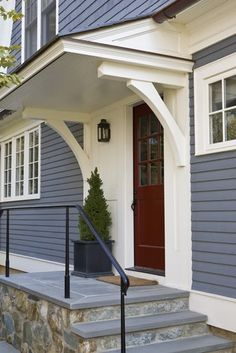 Overhang on front door Side Door Detail Shingle Style Entryway Front Facade by Anne Decker Architects Café Design, Design Patio, House Design, Roof Design, Design Ideas, Interior Design, Porch Roof, Side Porch, Side Door