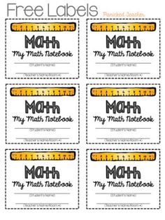 Do you use Interactive Notebooks? I have always LOVED using them in my classroom so I am busy preparing my labels for my students notebooks. Notebook Labels, Math Journal Labels, Math Labels, Math Notebooks, Interactive Notebooks, School Labels, Math Classroom, Kindergarten Math, Teaching Math
