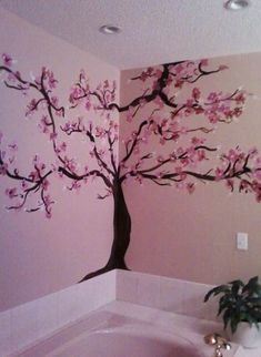 Cherry Blossom in bathroom.I love browns and pinks together! Cherry Blossom in bathroom. Wall Painting Decor, Art Decor, Painting Trees, Painting Walls, Art Paintings, Art Mural, Tree Wall Murals, Baby Art, Room Paint