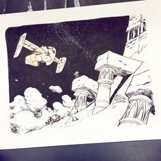 Inktober Day FLIGHT - Little Bot rode into the night to the rendezvous point at the old ruins. His flight showed up right at midnight. - I think I'm going to be a day behind for the rest of the month! Been hard to fit an extra drawing in my schedule. Animal Sketches, Art Sketches, Character Inspiration, Character Design, Blue Sky Studios, Landscape Concept, Park Art, Comic Drawing, Sketchbook Inspiration
