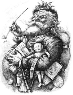 santa sketch | black and white clip art reproduction of the famous Thomas Nast Santa ...