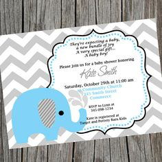 Printable Blue Elephant Chevron Baby Shower by cohenlane on Etsy