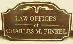A10212 - Stained Cedar Attorney Sign, Hand-Carved Text, Gold Metallic Paint