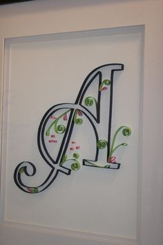 Quilled Paper Art- Initial A in blue, pink and lime
