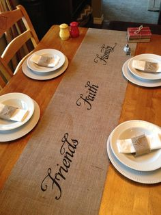 Burlap table runner with Friends Faith Family painted down the middle of the runner. Ends are hemmed. Sides are serged for a beautiful finished edge. Note : Serging will reduce the width by approximately 1/4. Beautiful table runner for a wedding, Holiday or everyday table.    I can also do Hope Love Peace Joy Live Laugh or Believe combinations, just list in the notes section at checkout if you want a saying other than Friends Faith Family.    To achieve same look as in my photo, please add…
