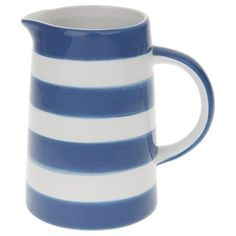 NEW VINTAGE RETRO BLUE BAND CERAMIC MILK JUG KITCHEN STORAGE