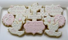 floral baptism cookies