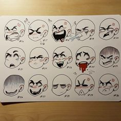 Manga Character Drawing Sheet two of who knows how many. Another expression sheet. I have at least three full sheets for reference. I have to finish inking the… - Drawing Base, Drawing Tips, Drawing Sketches, Drawing Ideas, Drawing Sheet, Doodle Sketch, Art Reference Poses, Drawing Reference, Design Reference