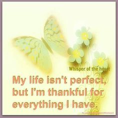 My life isn't perfect but I'm thankful for everything I have :)