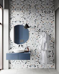 Beautiful Terrazzo tile for this sleek bathroom design. 😍😍 Design from 👌 Bad Inspiration, Bathroom Inspiration, Dream Bathrooms, Beautiful Bathrooms, Small Bathrooms, Marble Bathrooms, Master Bathrooms, Master Bedroom, Bathroom Sets