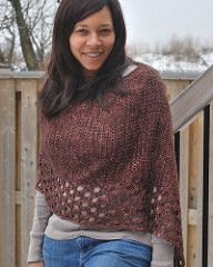 Kelley's Ponchito is a light and lacy poncho crocheted from side to side as a single rectangle and then seamed to create the poncho shape. The neck opening is crocheted last. Kelley's Ponchito offers a change from the usual wrap and shawl shapes. However, the design can be crocheted and worn as a rectangular wrap, as well.