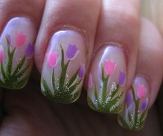 Silvery White Polish With Tulip Design Spring Manicure For Square Nails Easter Nail Designs, Easter Nail Art, Flower Nail Designs, Flower Nail Art, Nail Designs Spring, Cute Nail Designs, Trendy Nail Art, Cute Nail Art, Spring Nail Art
