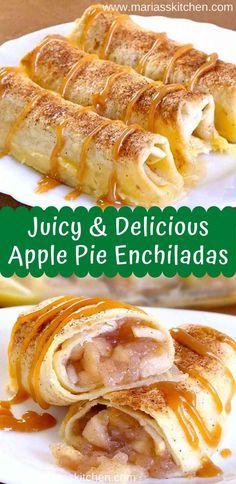 Juicy and Delicious Apple Pie Enchiladas Apple Pie Recipe Easy, Apple Recipes Easy, Tart Recipes, Fruit Recipes, Mexican Food Recipes, Beef Recipes, Vegetarian Recipes, Cooking Recipes, Kuchen