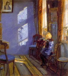 Anna Ancher, Anna Ancher / Solskin i den Blå Stue (Sunshine in the Blue Room), 1891 / The Red Room Amalievej This is Anna Ancher. The Danish painter, part of the Skagen group (the only one to. Art And Illustration, Illustrations, Skagen, Art Amour, Art Vintage, Ouvrages D'art, Blue Rooms, A4 Poster, Love Art