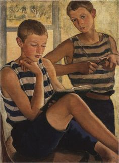 Boys in sailor's striped vests, 1919  Zinaida Serebriakova (1884-1967)