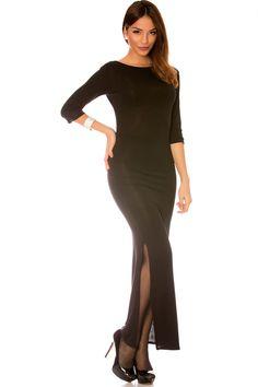 MODE Longue robe noir manches 3/4, fendu sur le côté summer dress