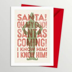 buddy the elf santa's coming christmas card by a is for alphabet   notonthehighstreet.com