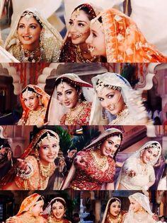 Karisma Kapoor, Tabu and Sonali Bendre in Hum Saath Saath Hain Bollywood Heroine, Bollywood Fashion, Bollywood Actress, Hum Saath Saath Hain, Royal Indian Wedding, Asian Bridal Wear, Karisma Kapoor, Madhuri Dixit, Tabu