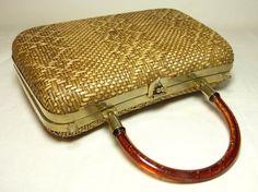 Natural woven straw box handbag with brown by LaBaronneVintage