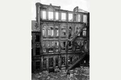The gutted remains of Trivetts Building in Short Hill, The Lace  Market after the Nottingham Blitz in May, 1941.