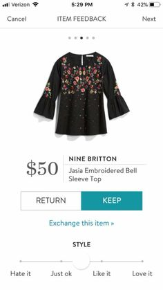 OMG.  This is the embroidered bell sleeve top I have been looking for!!!!  PLEASE SEND ME THIS TOP!!!!!