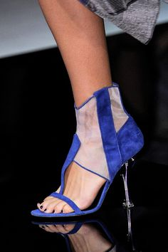 Giorgio Armani Blue Cut-Out & Mesh Ankle Boots Metal Heel Spring 2014 RTW #Shoes