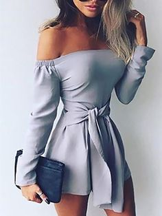 Rompers Womens Jumpsuit 2018 Autumn Playsuits Sexy Off Shoulder Slah Neck Casual Bodysuit Solid Long Sleeve Plus Size Overalls(China) Asos Jumpsuit, Jumpsuit With Sleeves, Bodycon Jumpsuit, White Jumpsuit, Fitted Jumpsuit, Ladies Jumpsuit, Cotton Jumpsuit, Strapless Jumpsuit, Denim Jumpsuit