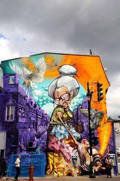 Montreal based A'shop crew - an artist-run production company that creates graffiti murals, street art, and other public art displays. 3d Street Art, Street Art Utopia, Urban Street Art, Murals Street Art, Best Street Art, Amazing Street Art, Street Art Graffiti, Street Artists, Urban Art
