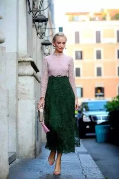 Street Snap: Lace Outfits, Pink Blouse & High Waist Long Skirt