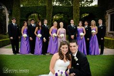 Purple strapless dresses for the bridesmaids while the maid of honor stands out in a dusty roses strapless dress | Lasting Images Photography | villasiena.cc