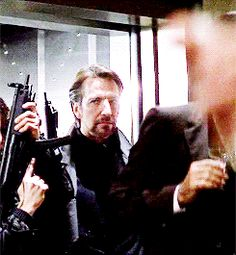 """1988 - """"Die Hard"""" in which Alan Rickman played Hans Gruber. Die Hard 1988, Hans Gruber, Uk Actors, Alan Rickman Severus Snape, Julie Andrews, The Expendables, Jason Statham, Bruce Willis, Ares"""