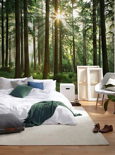 New Ideas For Bedroom Green Headboard Accent Walls Bedroom Green, Bedroom Colors, Bedroom Wall, Bedroom Decor, Wall Decor, Green Headboard, Forest Bedroom, Forest Mural, Forest Wallpaper