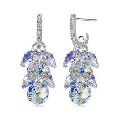 Crystal from Swarovski Earrings Women Luxury Grape Shape Crystal Drop Earrings Cluster Earrings, Women's Earrings, Bridal Earrings, Chandelier, Nickel Free Earrings, Crystal Fashion, Swarovski Crystal Earrings, Vintage Earrings, Fashion Earrings
