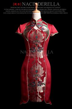 Hand made embroidery Chinese red wedding cheongsam by GlowPhoenix