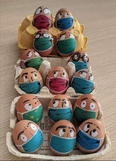 People have been decorating traditional Easter treats such as cakes, eggs and chocolate bunnies (pictured) but adding protective masks to their designs. Egg Crafts, Diy And Crafts, Chocolate Rabbit, Egg Art, Rock Crafts, Egg Decorating, Happy Easter, Food Art, Painted Rocks