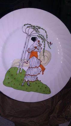 1970s Vintage Plates Royal Sutherland HM Fine Bone China Art Nouveau Deco Ladies