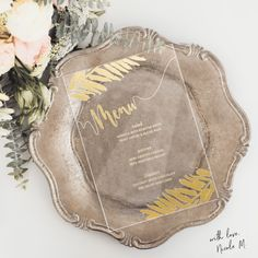 New 2017 Acrylic Wedding Menu. Get a free image sample before your purchase at ywcountdown.com/imagesample See more here: https://www.etsy.com/listing/497952734/tropical-theme-acrylic-clear-menu?ref=shop_home_active_8