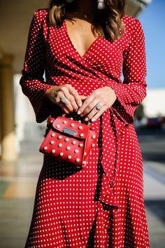 red polka dot wrap top