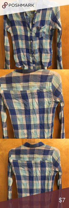 Shirt Button down blue plaid shirt Hollister Tops Button Down Shirts