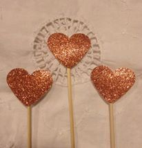 Copper Glitter Heart  Cupcake Cake Toppers  Wedding by TypeWright