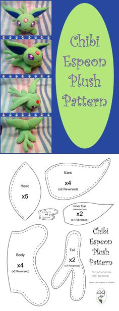 Chibi Espeon Plush Pattern by altaiira.deviantart.com on @DeviantArt