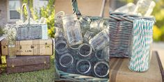 vintage camper inspired party - mason jar drink set up http://alisonholcombphotography.com/blog/