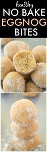 Healthy No Bake EGGNOG Bites- Quick, easy and SO delicious, these healthy eggnog bites have NO sugar, grains, oil or dairy and are the PERFECT snack or dessert! {vegan, gluten free, sugar free, paleo recipe}- thebigmansworld.com