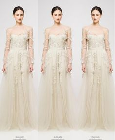 Wholesale Prom Dresses - Buy 2014 Reem Acra Long Evening Dress Cheap A-Line Crew Long Sleeve Tulle Prom Dress With Applique Formal Evening P...