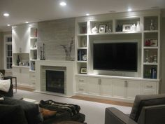 modern half wall built-ins | TV wall decor love the built in | House ideas | Pinterest