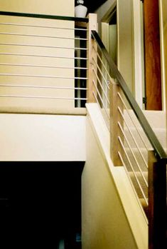 Great modern railing in a split level home