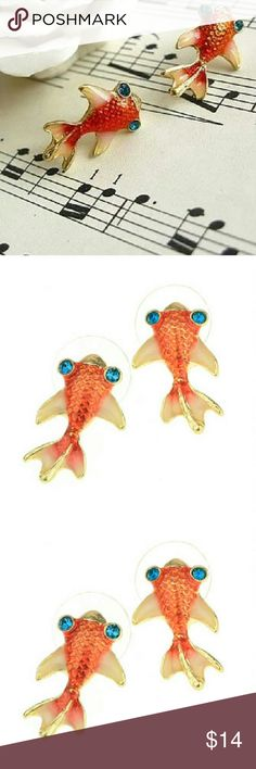 6 & 8 $ale  Gold Fish Earrings Just about as cute as cute can get!!! ^_^   NWOT never worn Jewelry Earrings
